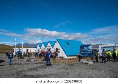 Jokulsarlon Iceland - August 18. 2018: Ticket sale and cafe building at Jokulsarlon Glacier Lagoon