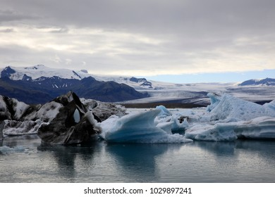 Jokulsarlon / Iceland - August 29, 2017: Ice formations and icebergs in Glacier Lagoon, Iceland, Europe