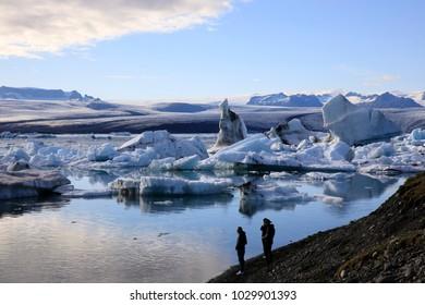 Jokulsarlon / Iceland - August 29, 2017: Tourists near Glacier Lagoon, Iceland, Europe