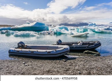 Jokulsarlon, Iceland - Circa July 2016 - boat adventure on Jokulsarlon glacier lake