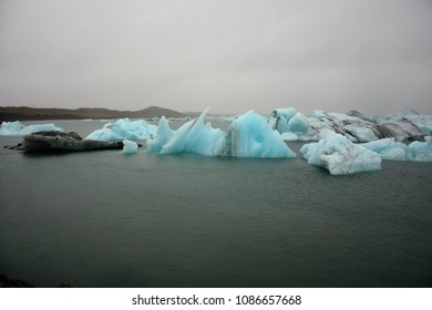 JOKULSARLON, ICELAND - SEPTEMBER 23, 2017: Jokulsarlon Glacier Lagoon on a stormy day