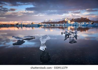 Jokulsarlon lagoon, Beautiful cold landscape picture of icelandic glacier lagoon bay, Iceland