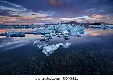 Jokulsarlon lagoon, Beautiful cold landscape picture of icelandic glacier lagoon bay, Iceland