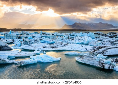 Jokulsarlon Lagoon by the southern coast of Iceland