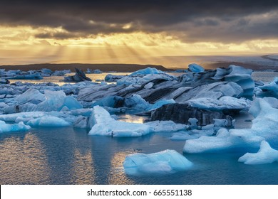 Jokulsarlon lagoon, Iceland. Beautiful cold landscape picture of icelandic glacier lagoon. Winter Iceland.