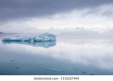 Jokulsarlon lagoon in Vatnajokull park Skaftafellsjokull glacier in winter Iceland