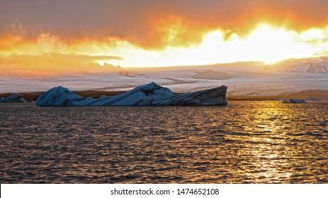 Jokulsarlon lake, Iceland - 01.06.2019, Iceberg in the form of a ship on the Jokulsarlon lake, Iceland.