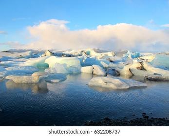 Jokulsarlon is a large glacial lake in southeast Iceland, on the edge of Vatnajokull National Park.