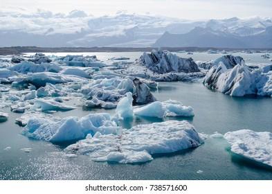 Jokulsarlon, a large glacial lake in southern Iceland