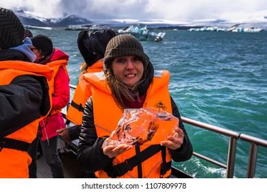 Jokulsarlon - May 05, 2018: Iceberg lagoon of Jokulsarlon, Iceland