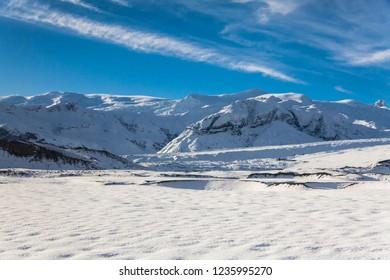 Jokulsarlon snow landscape in Hvannadalshnukur, Iceland for beautiful background