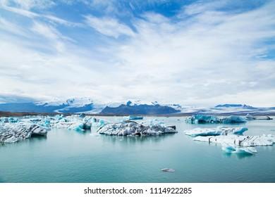 Jokulsarlon,a large glacial lake in southeast Iceland