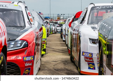 Joliet, IL, United States - June 29, 2019: NASCAR race cars lined up before the start of a race.