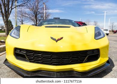 JOLIET, IL, USA - APRIL 22, 2018: The 2015 Chevrolet Corvette Z06 features 650 horsepower with a 6.2 L V8 engine.
