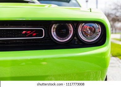 JOLIET, IL, USA - APRIL 22, 2018: The 2015 Dodge Challenger R/T Scat Pack is fitted with 485 horsepower of American Muscle and 475 lb/ft or torque.