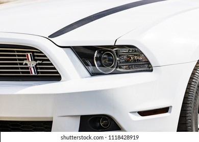JOLIET, IL, USA - APRIL 22, 2018: The 2013 Ford Mustang was made in a coupe or convertible and was fitted horsepower ranging from 305 to 444 hp.