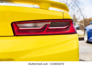 JOLIET, IL, USA - APRIL 22, 2018: 2017 Chevrolet Camaro was built with horsepower ranging from 275 to 650 hp and won the 2016 Motor Trend Car of the Year.
