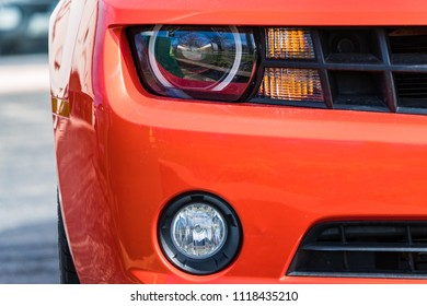 JOLIET, IL, USA - APRIL 22, 2018: The 2012 Chevrolet Camaro was built with horsepower ranging from 323 to 580 horsepower and can be purchased with a V6 or V8 engine.