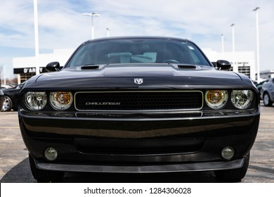 JOLIET, IL, USA - APRIL 22, 2018: The 2011 Dodge Challenger was reintroduced to the American muscle car market based off of the classic model. These vehicles have horsepower ranging from 305 - 470 hp.