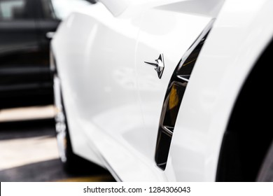 JOLIET, IL, USA - APRIL 22, 2018: The 2018 Chevrolet Corvette Stingray features about 455 horsepower and the MSRP starts at approximately $55,495.