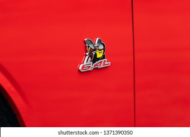JOLIET, IL, USA - APRIL 7, 2019: The Scat Pack symbol of a 2018 Dodge Challenger R/T Scat Pack, which features 485 horsepower with its 6.4L engine.
