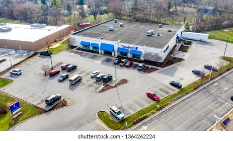 JOLIET, IL, USA - APRIL 8, 2019: Goodwill Industries has stores around the United States that take donations and sell the used items at a low cost. The Non-Profit gives donations to locals in need.