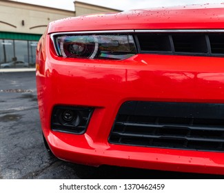 JOLIET, IL, USA - APRIL 9, 2019: Front end grill of a 2013 Chevrolet Camaro SS, the horsepower on these models range from 323 to 580 horsepower.