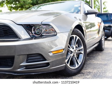 JOLIET, IL, USA - July 15, 2018: The 2014 Ford Mustang was made in a coupe or convertible and was fitted with horsepower ranging from 305 to 420 hp.