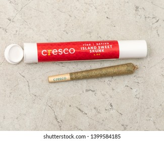 Joliet, IL / USA - May 14, 2019: Medical marijuana product, a pre-rolled joint, or marijuana cigarette, with its childproof packaging as purchased at an Illinois Medical Cannabis Dispensary