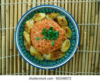 jollof rice with fried plantains,Nigerian cuisine