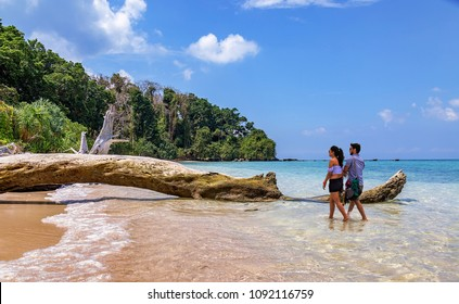 Jolly Buoy Island, Andaman, March 25,2018: Indian honeymoon couple enjoy a romantic moment at the scenic Jolly Buoy island, Andaman India.