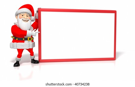 A jolly cartoon Santa holds up a sign and points to it with his other hand.  Isolated on white with a clipping path.