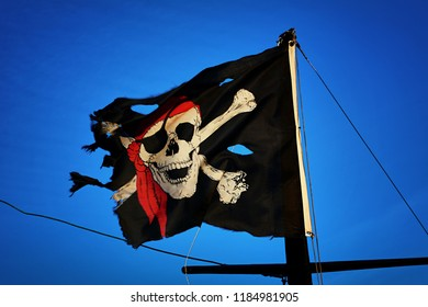 Jolly Roger blowing in the sky