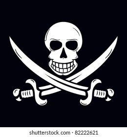 Jolly Roger pirate flag la Jack Rackham with skull and two crossing swords.