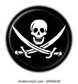 Jolly Roger skull and crossed swords symbol button round flag