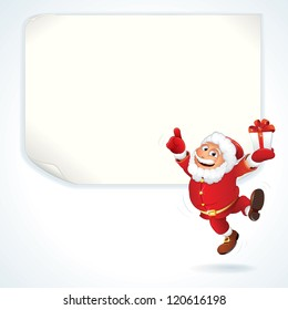 Jolly Santa Claus Pointing at the Blank Sale Sign. Christmas Series