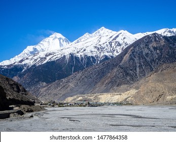 Jomsom, Nepal - circa April 2019: Jomsom town in the lower Mustang Region of Nepal