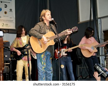 Jon Anderson of Yes along with the Paul Green School of Rock kids perform at the Earth Day celebration in Grand Central Station in Manhattan.