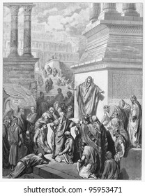 Jonah preaching to the Ninevites -  Picture from The Holy Scriptures, Old and New Testaments books collection published in 1885, Stuttgart-Germany. Drawings by Gustave Dore.