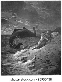 Jonah and the Whale - Picture from The Holy Scriptures, Old and New Testaments books collection published in 1885, Stuttgart-Germany. Drawings by Gustave Dore.
