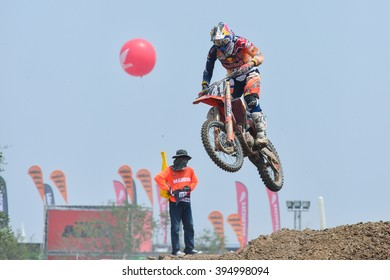 Jonass Pauls  #41 of of Red Bull KTM Factory Racing jumps to during the FIM Motocross World Championship Grand Prix of Thailand on March 6, 2016 in Suphanburi, Thailand