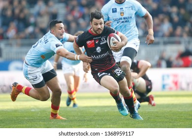 Jonathan Pelissie of Lyon and Julien Farnoux of Perpignan during the French championship Top 14 rugby union match between Lyon OU and USA Perpignan on April 13, 2019 at Matmut stadium in Lyon, France