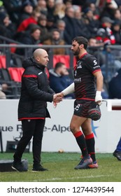 Jonathan Wisniewski of Lyon and Pierre Mignoni coach of Lyon during the French championship Top 14 rugby union match between Lyon OU and SU Agen on December 29, 2018 at Matmut stadium in Lyon, France