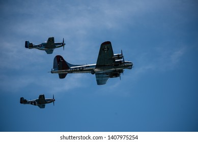 Jones Beach, New York, May 25, 2019:  Jones Beach Air Show 2019. A warbird plane flies over in the show.