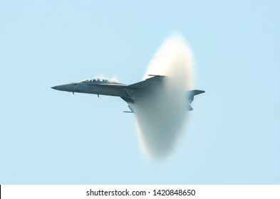 Jones Beach State Park, Nassau County, New York, USA May 31, 2019: McDonnell Douglas F-15 Eagle Passing the Sound barrier at the Jones Beach Air Show