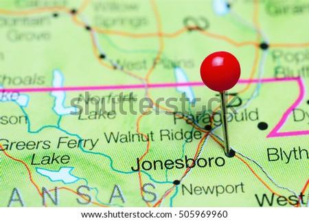 Arkansas On Usa Map.Jonesboro Pinned On Map Arkansas Usa Stock Photo Edit Now