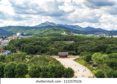 Jongmyo park view with bukhansan mountain in the background. Taken from Sewoon plaza in seoul, south korea