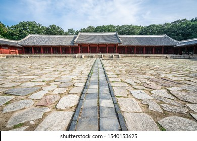 Jongmyo Shrine hall of eternal peace or Yeongnyeongjeon wide angle view with cobblestone square in Seoul South Korea
