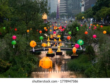 Jongno-gu, Seoul, South Korea - May 30, 2020: Night view of Cheonggyecheon Stream with lotus lantern and Soratap(turban tower) at Cheonggye Plaza