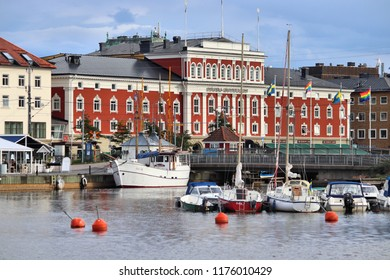 JONKOPING, SWEDEN - AUGUST 25, 2018: Lakefront view of Jonkoping town in Sweden. Jonkoping with population of 134,785 is the most populous municipality in province of Smaland.